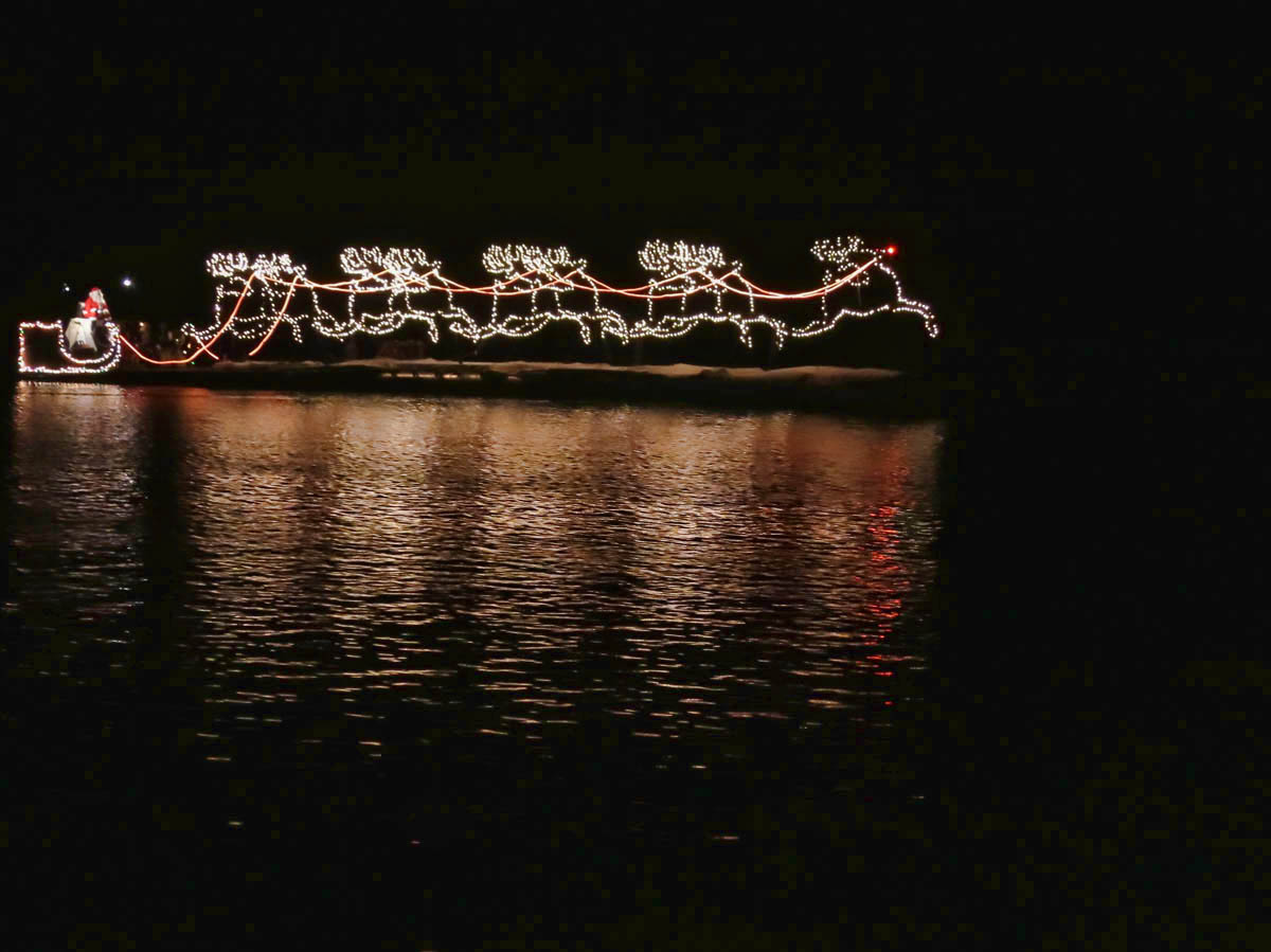 Santa's sleigh is made up of four barges.