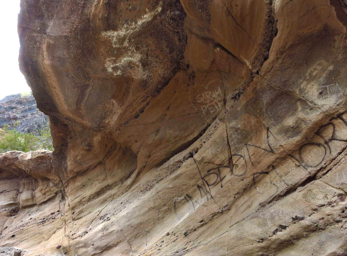 Graffiti nn the slot canyon at SARA Park