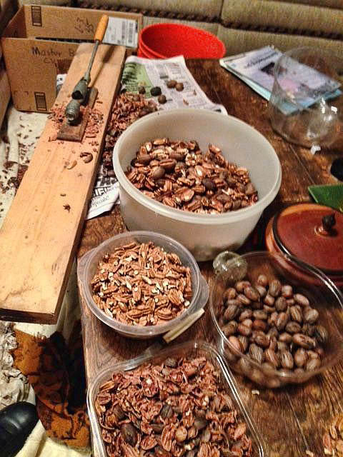Mom and I must have shelled 50 pounds of pecans.