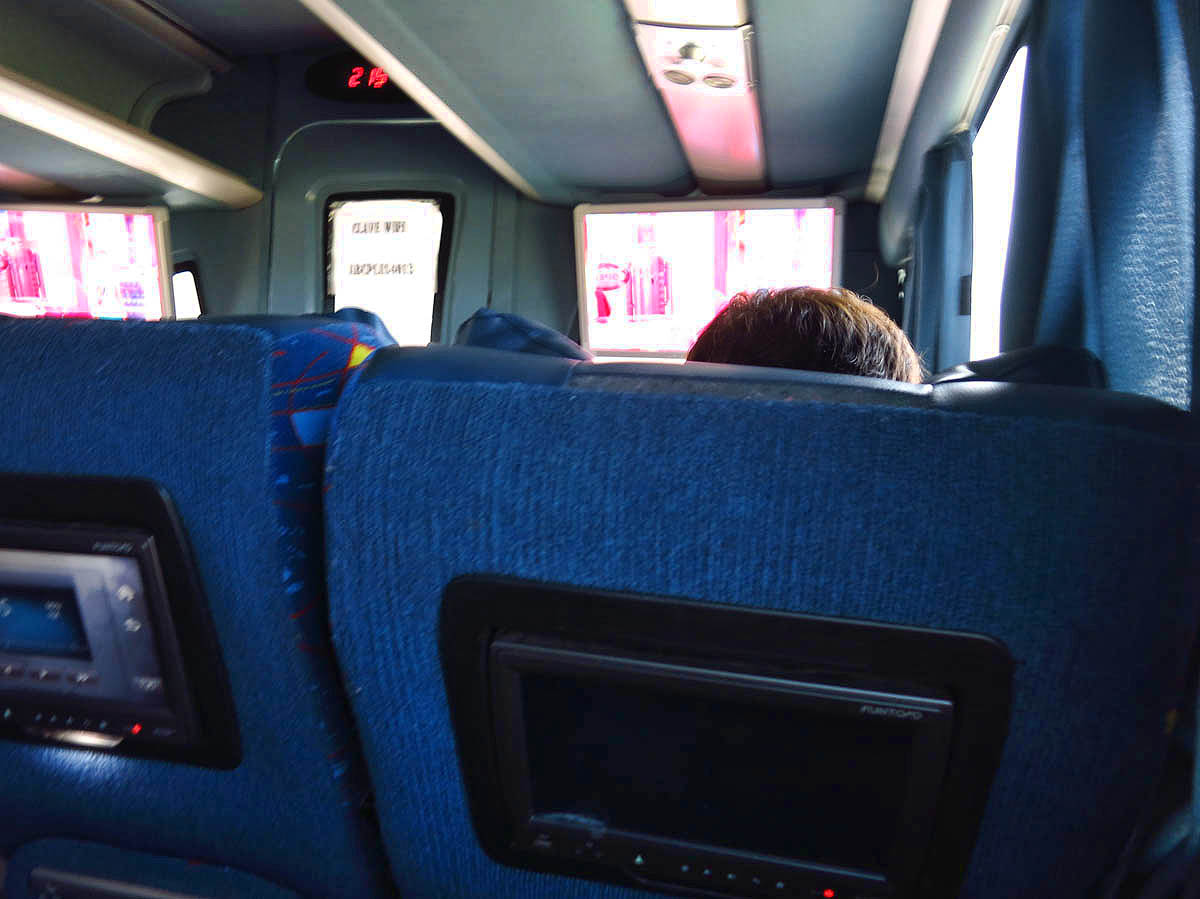 Mexican buses are getting fancier with TV screens in the seat backs now.