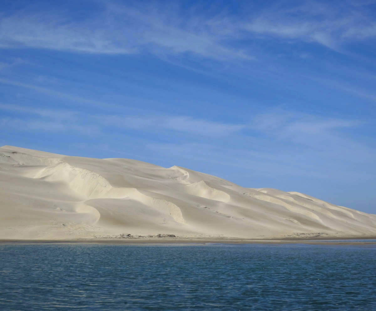 Beautiful pristine dunes line the lagoon.