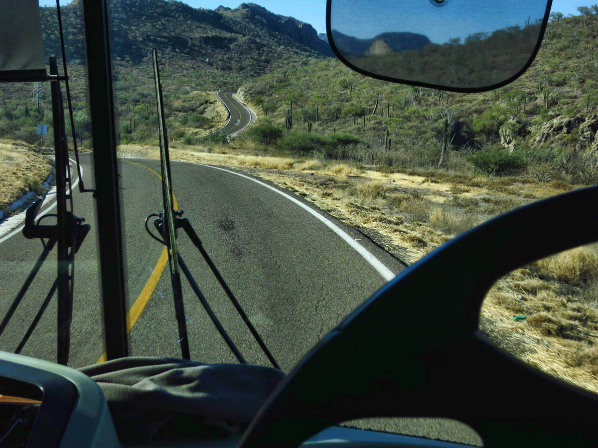 The stretch of road leaving Loreto is quite curvy!