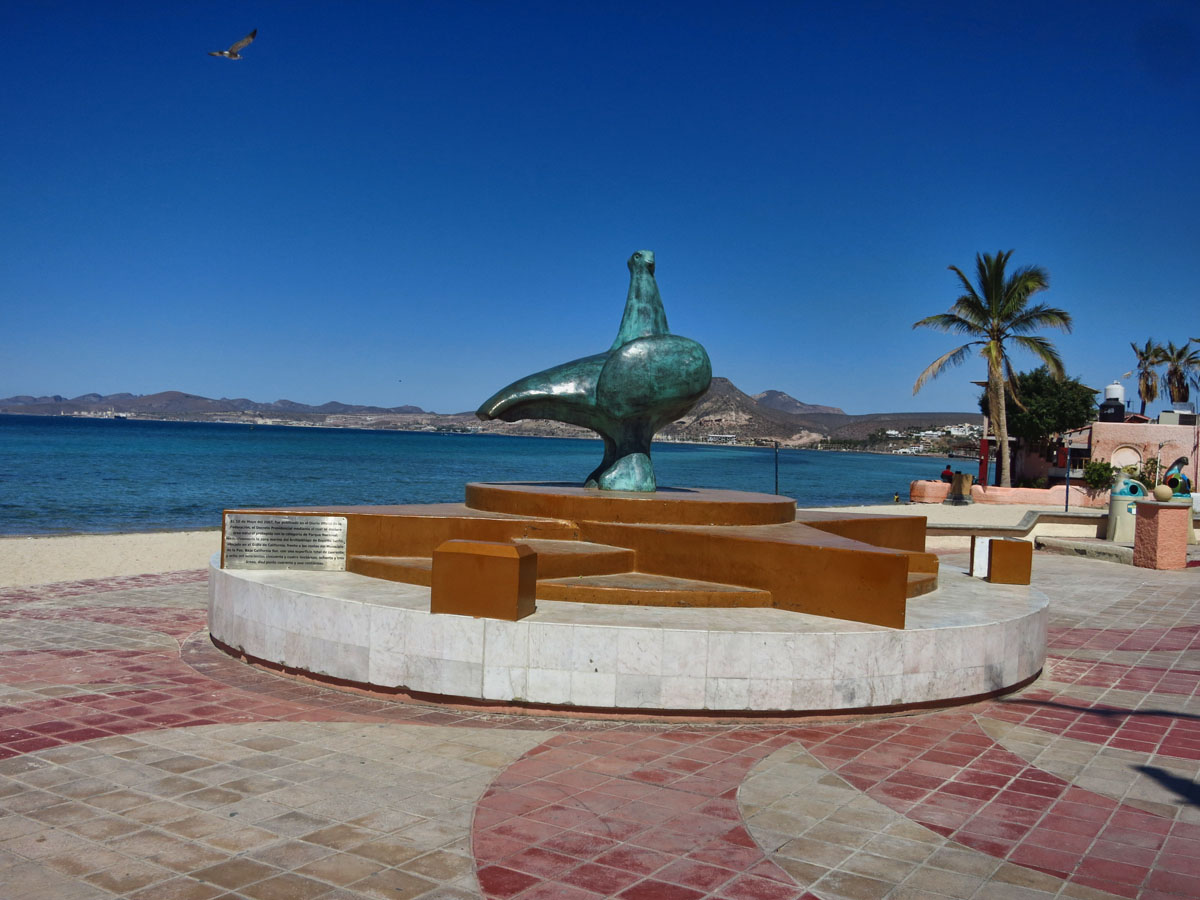 "This is the view from the glass doors of the La Paz bus station.  First thing you see when exiting.La Paz means ""Peace,"" so this is the Dove of Peace."
