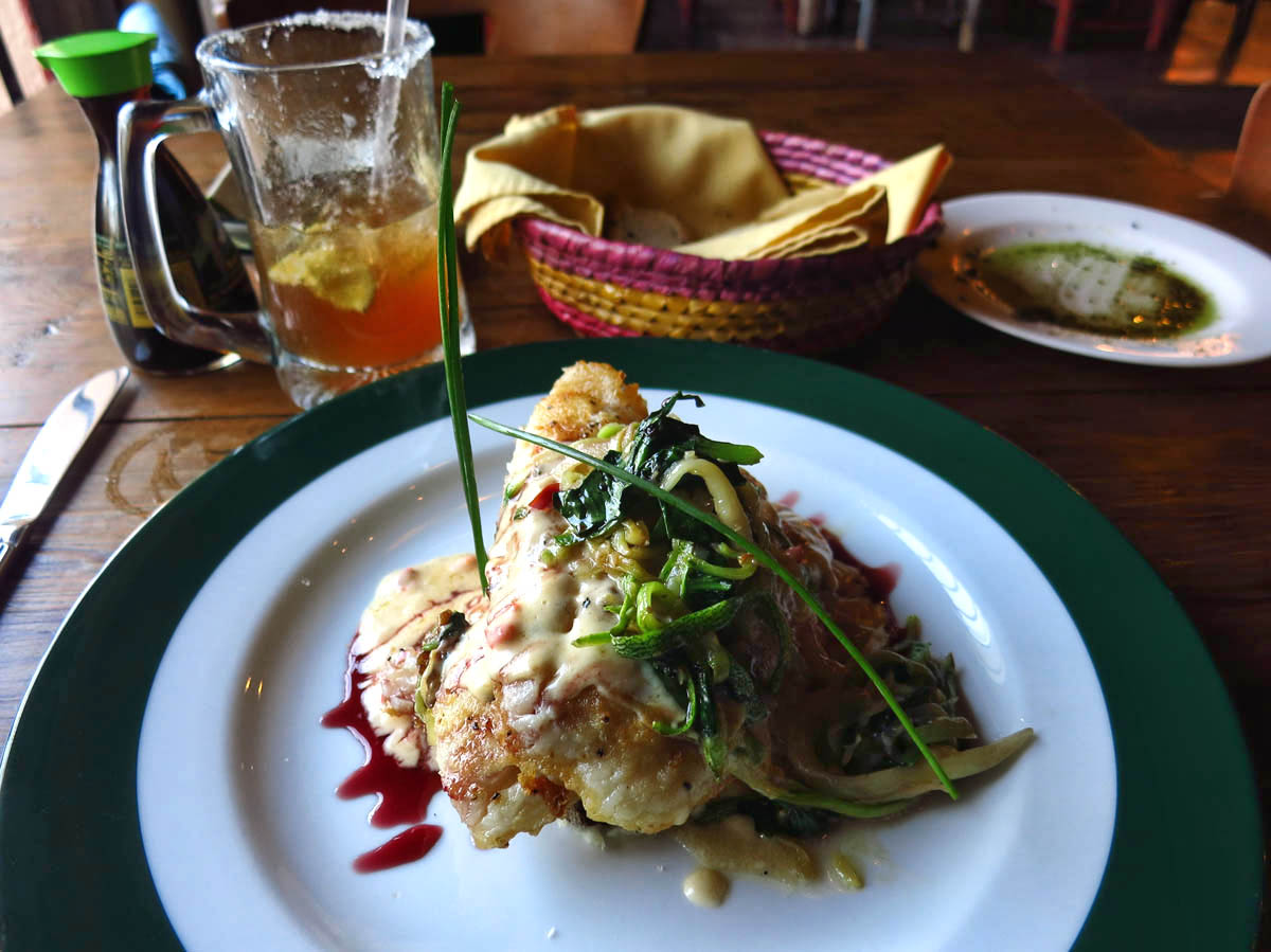One of my best meals in Baja at La Casitas,  Seared sea bass in tequila-jalapeno reduction.