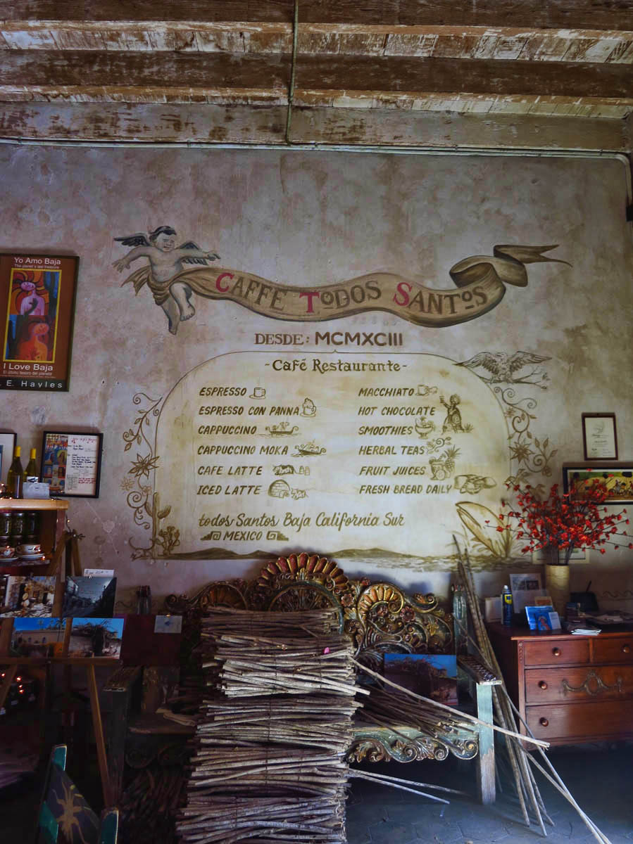 Even the menu appears as art work on the walls of my favorite coffee shop, Caffe' Todos Santos