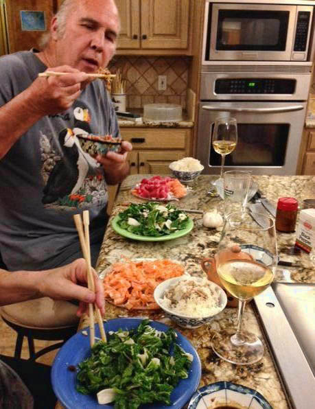 """Sashimi Selfie."" Taking a break from the work for some tuna and salmon sashimi and Bok Choy salad."