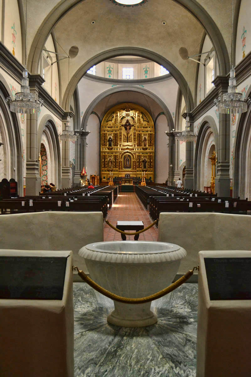 Inside the Mission San Juan Basilica.