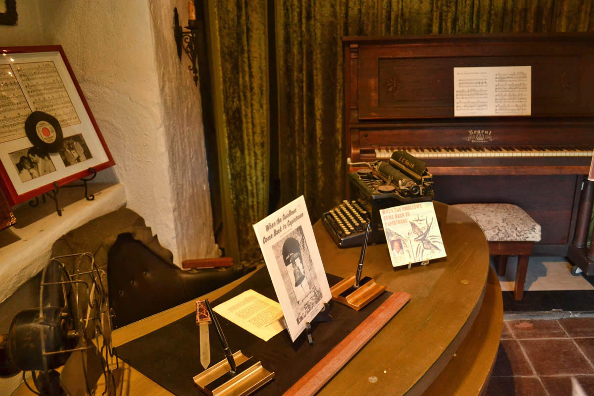 Leon René's piano that was used to create the Swallows hit song in 1939, as well as sheet music and desk.