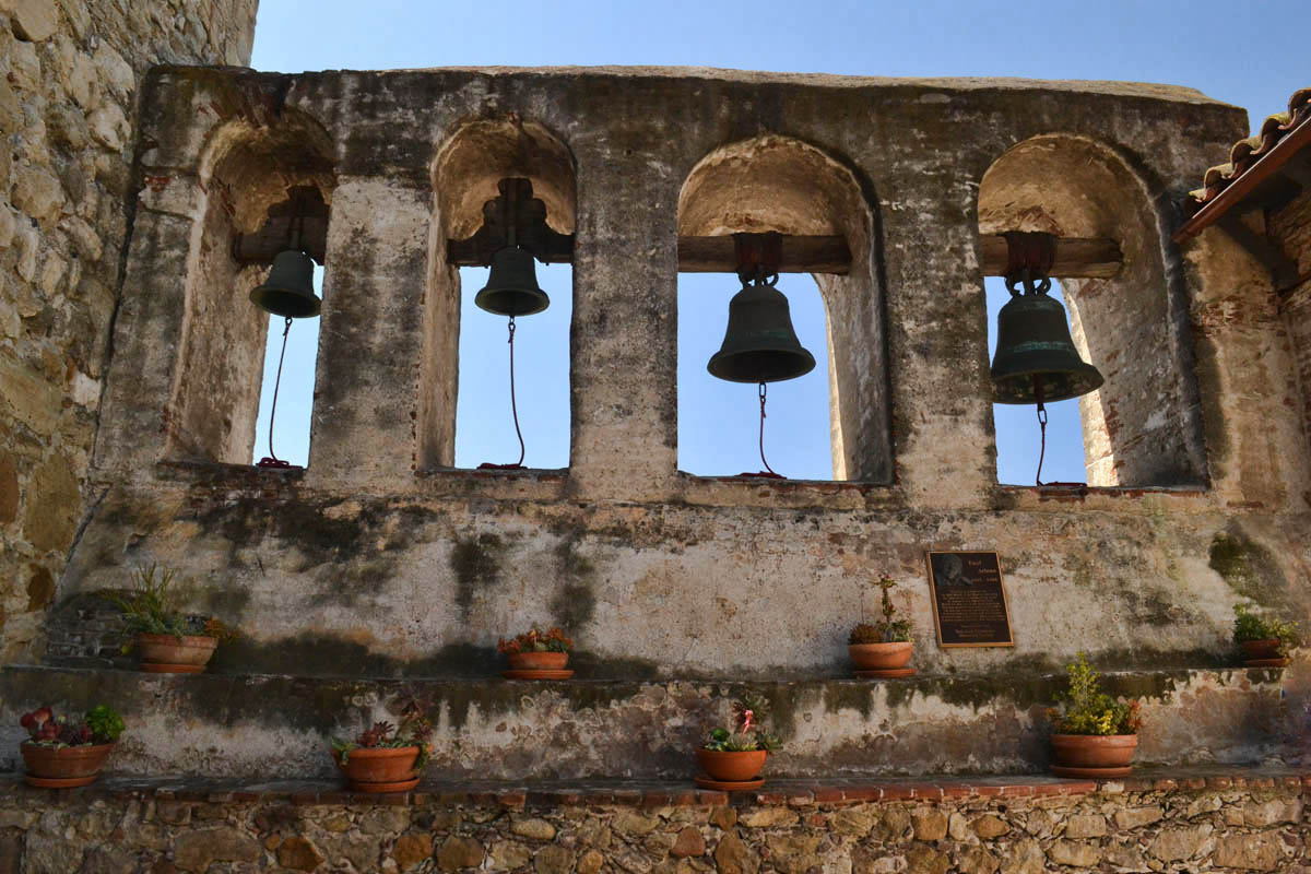 "These bells along the ""bell wall"" are replicas."