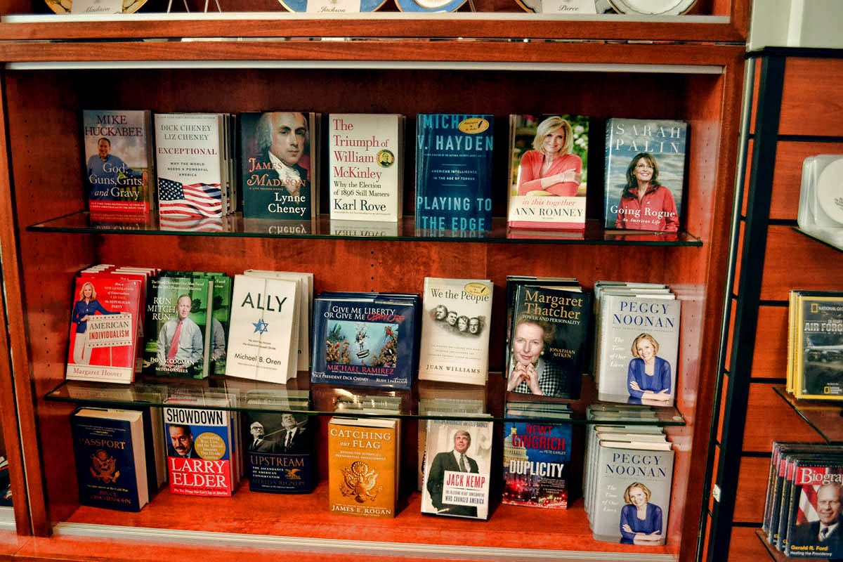 Inside the Museum Store...how can any federal building be taken seriously with a book by Sarah Palin on the shelf???