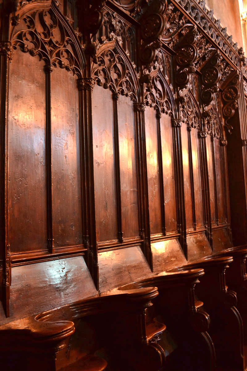 Imported Choir Stalls were used as paneling.