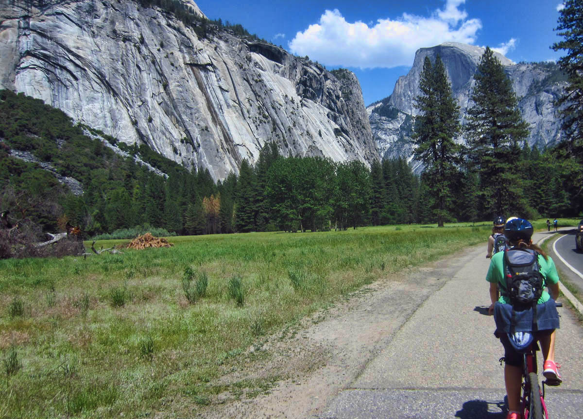Riding a bike in Yosemite Valley, it's hard to keep my eyes on the road! Too much beauty in every direction. I tell Joey to take the lead so I can sight-see behind her.