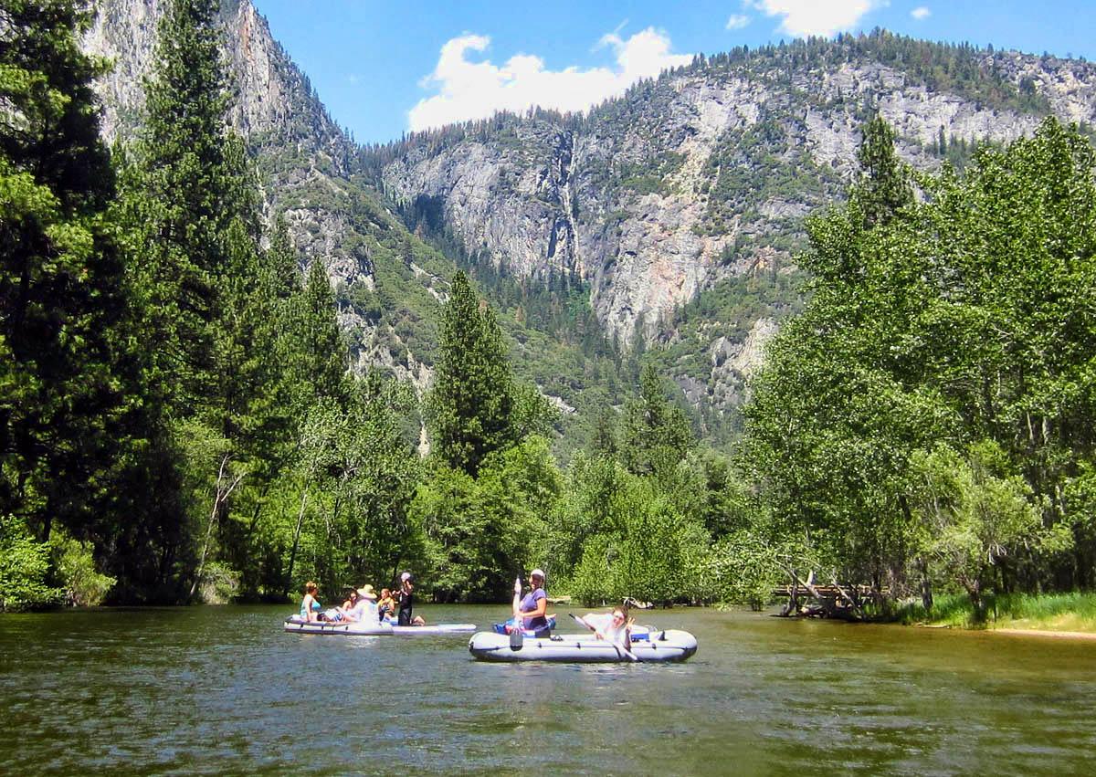 Rafting the Merced River that runs through Yosemite Valley