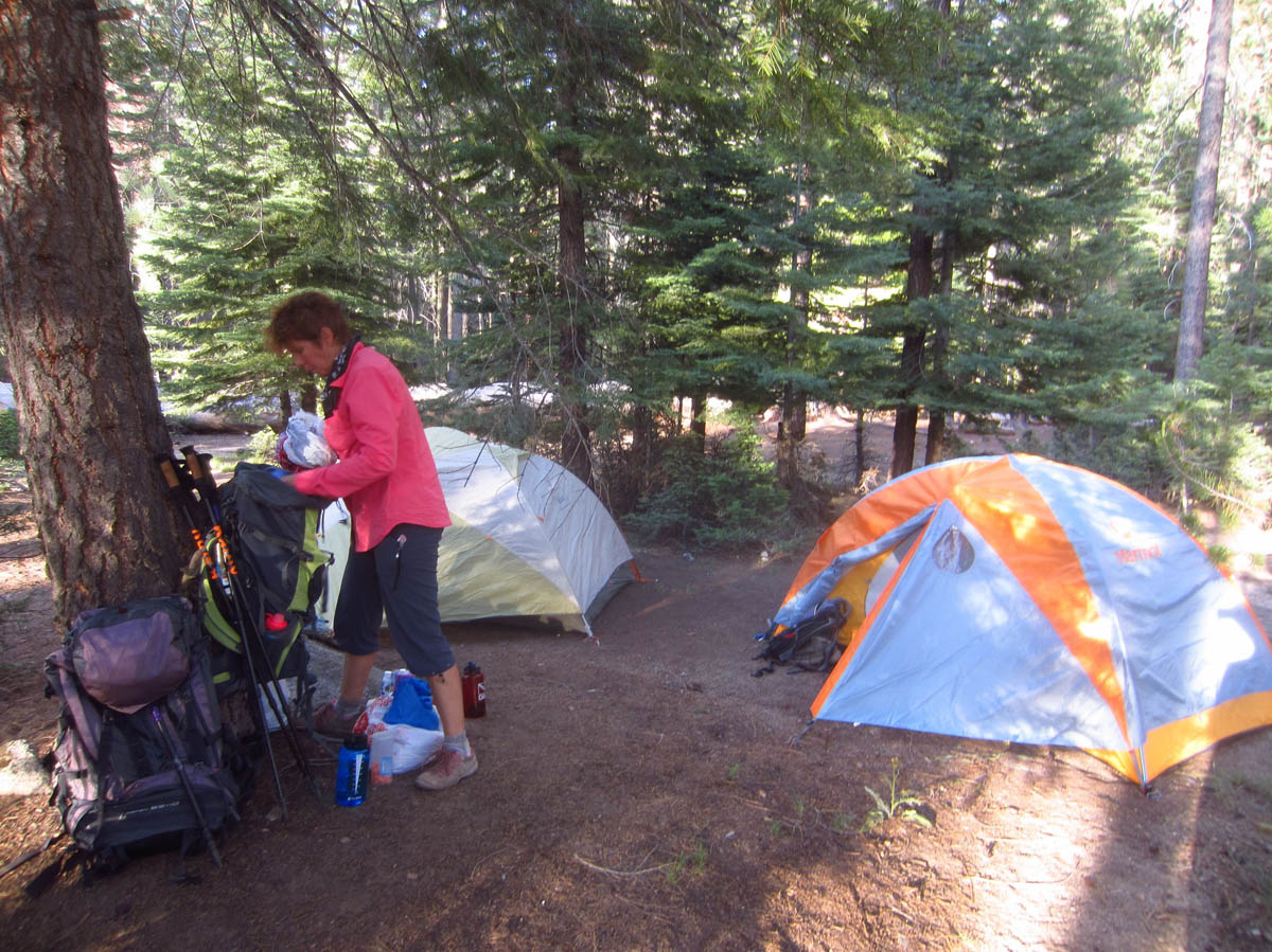 After over 7 miles down and back up the Panorama and Nevada Falls trails, we arrive at Little Yosemite Valley backcountry camp.