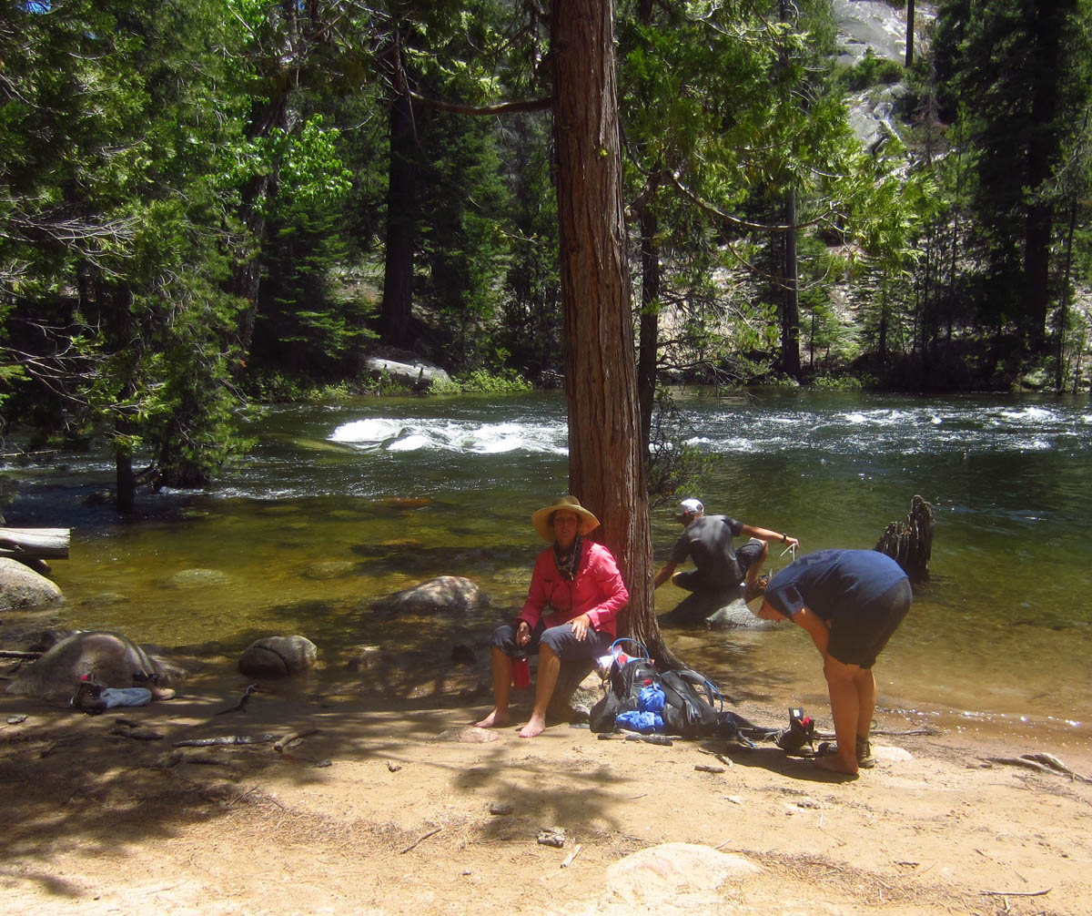 The camp is located alongside the cool, refreshing Merced River