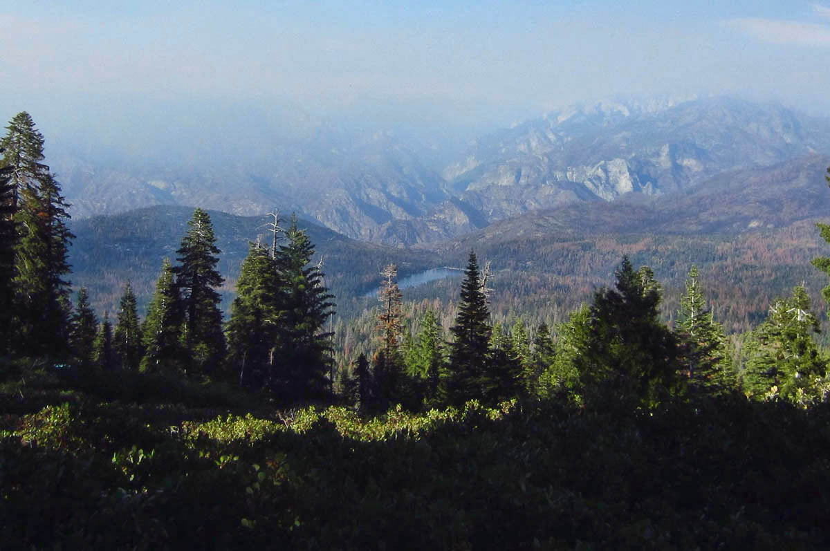 "View of Kings Canyon from Panoramic Point is not so panoramic due to ah ""prescribed burn"" in Redwood Canyon."