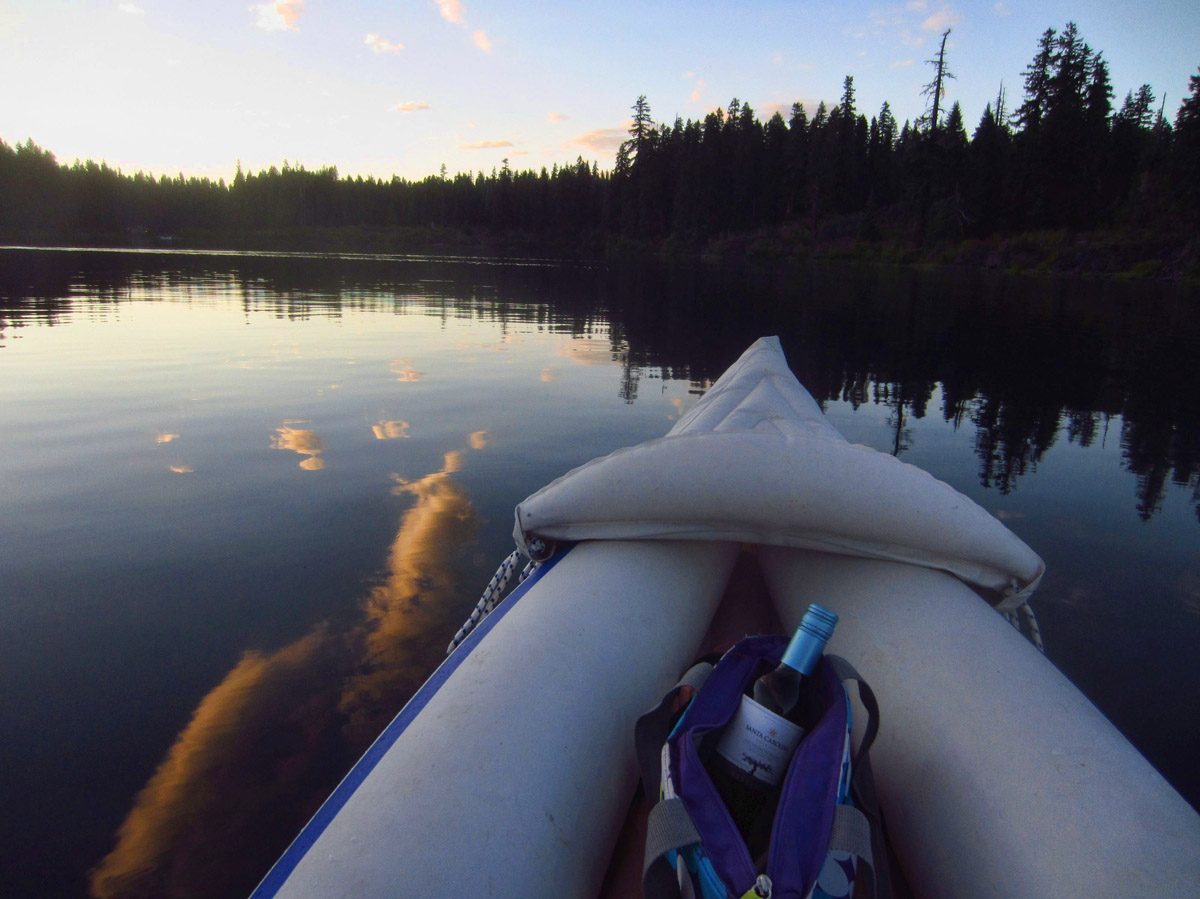 One of my favorite memories from my stay there, a little vino on a sunset paddle.