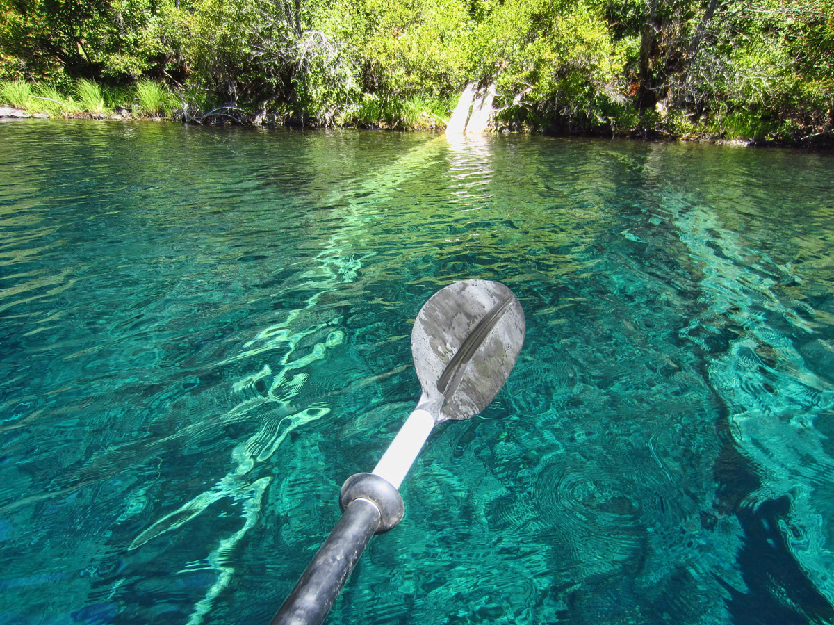 The lake was formed 3,000 years ago when it was dammed by lava flow. (And yes, i know my paddle is upside down.) ;-)