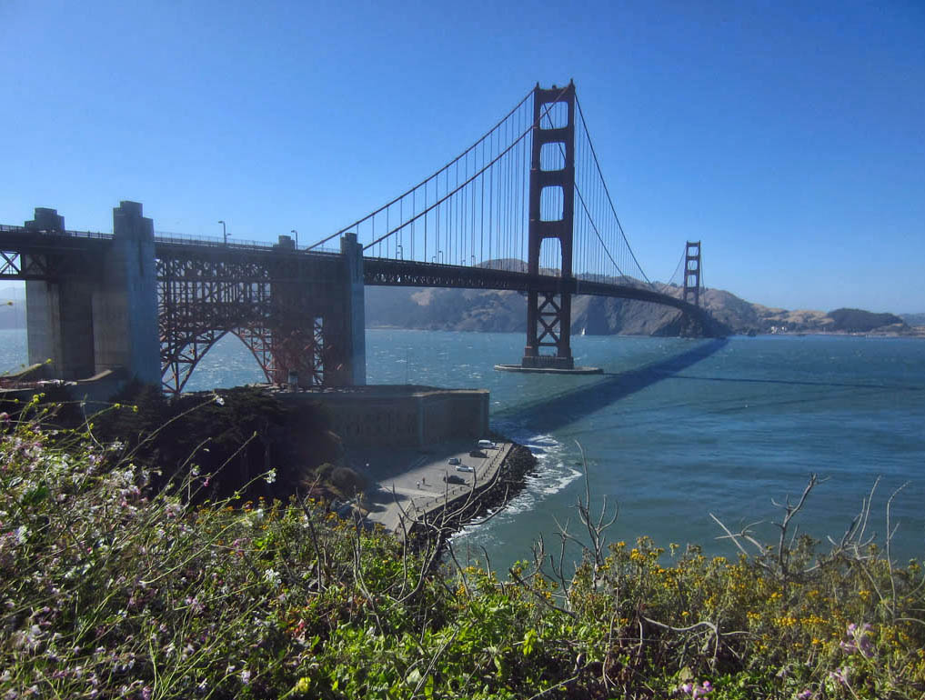 "The Golden Gate Bridge was actually named for strait it spans, not the color. The color is ""International Orange."""