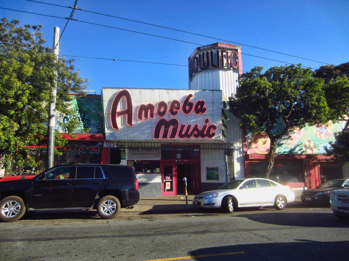 Amoeba Music occupies an old bowling alley.
