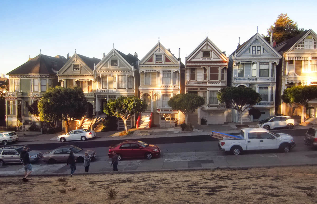 "The ""Painted Ladies,"" Victorian row houses built between 1892 and 1895."
