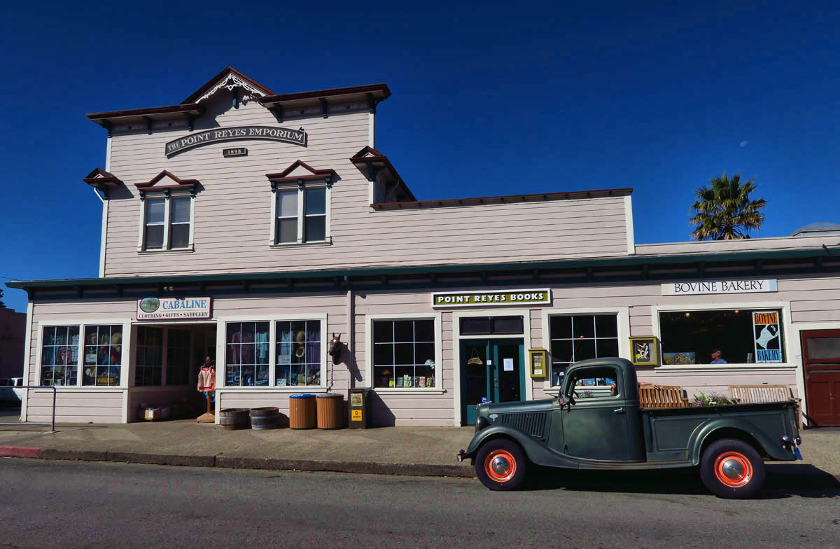 Main Street Point Reyes Station, population about 800.