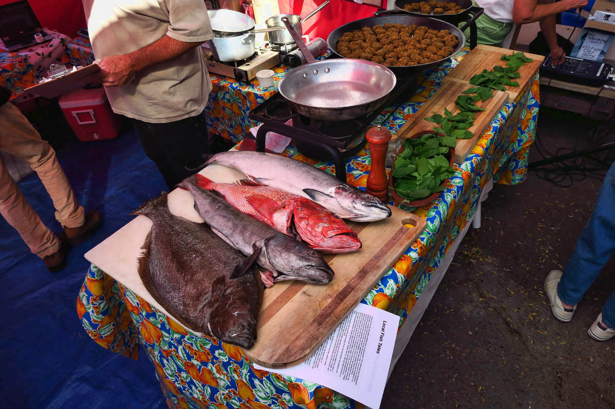 Every Saturday Farmer's Market features a cooking demonstration by a local chef.