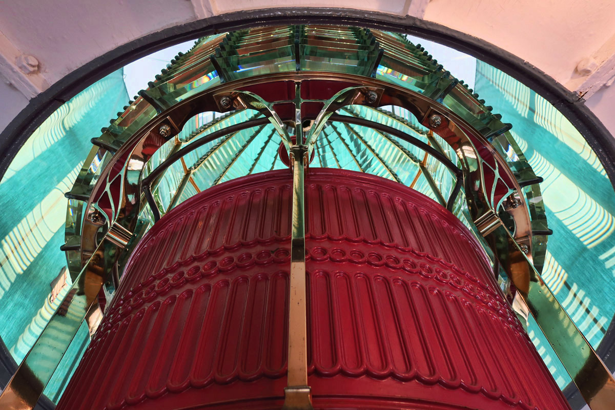 In spite of the conditions outside, inside the lens room, the 6,000 Fresnel lens is in phenomenal shape!