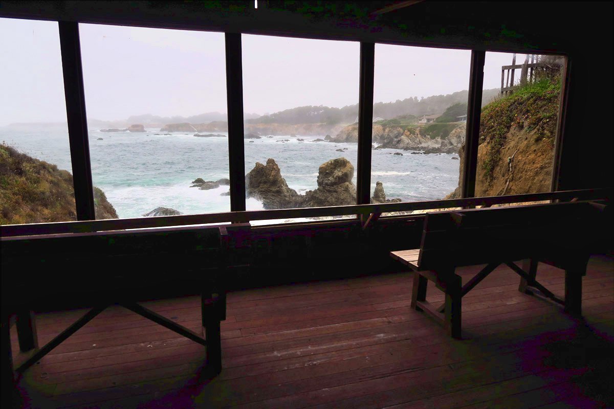 Inside the Botanical Garden's Cliff House where one can watch migrating whales or crashing waves in warmth!