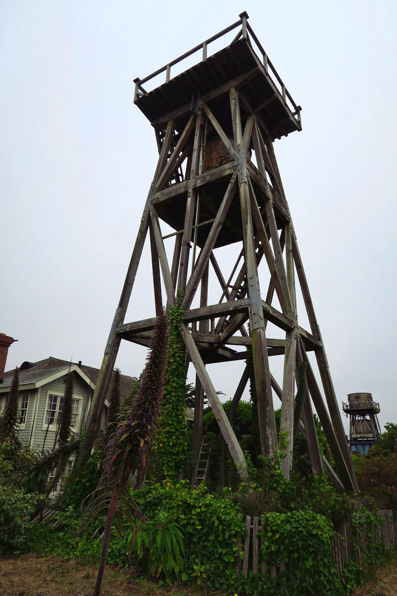 Mendocino is famous for its water towers, built at the end of the 19th century.  Since the town has no fresh water source, many are still in use today.