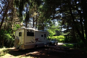 My beautiful campsite at one of my favorite State Parks, Cape Blanco. Quiet, private, spacious.