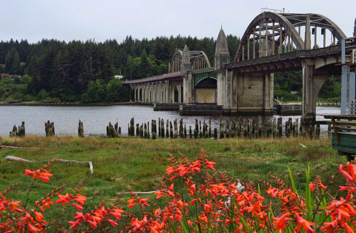 Beautiful Siuslaw River Bridge as seen from historic downtown Florence, OR.