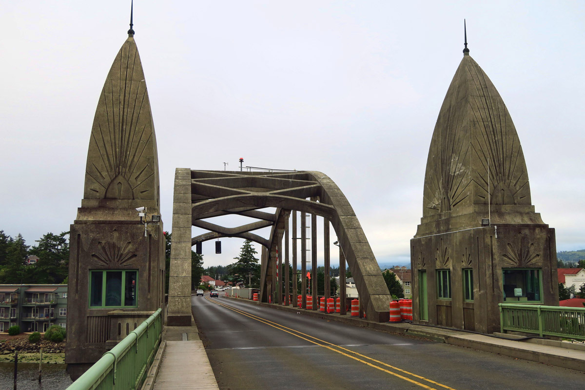 One of five Oregon Bridges designed by Conde B McCullough as part of the Coastal Bridges Project built during the Great Depression as a part of Roosevelt's New Deal.
