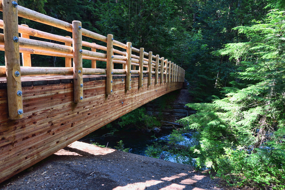 Just 1 mile from the campground, the McKenzie River Trail intersects the Waterfalls Trail. Nice new bridge!