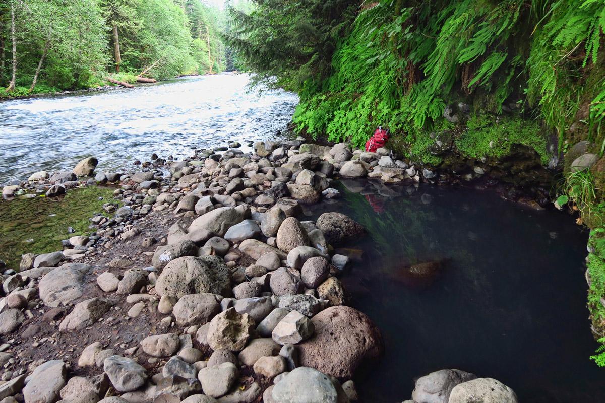 Natural hot springs along the river near Deer Creek Rd.