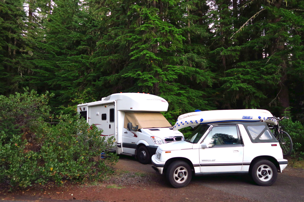 Site #1 at Coldwater Cove Campground alongside Clear Lake.