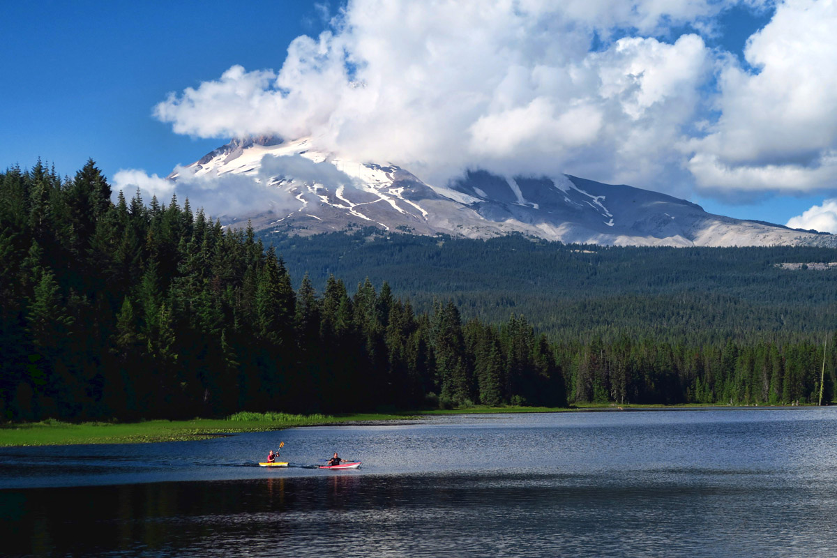 Kayaking in the clouds. Trillium Lake, OR