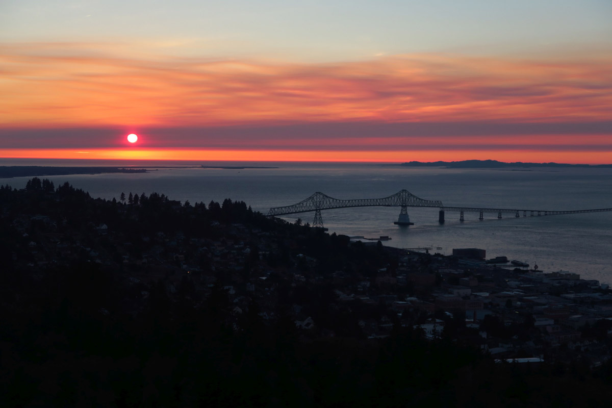 View of sunset from atop Astoria's Column.