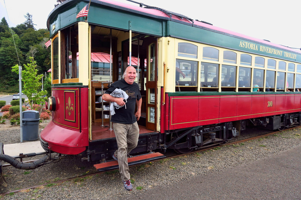 Astoria's 3-mile Riverfront Trolley runs along the waterfront with historical narration.
