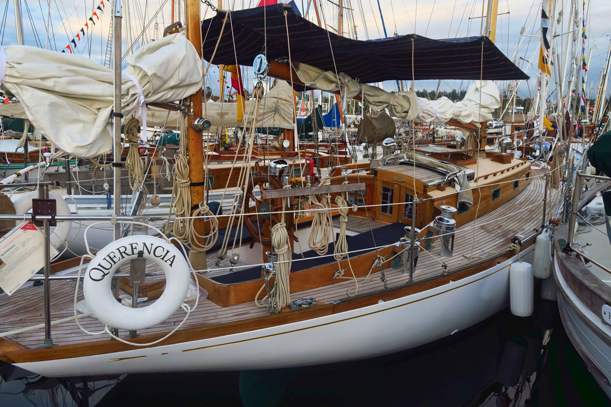 "I loved all the boats but none so much as the beautiful ""Querencia,"" 40 fter built in 1960 in Hong Kong. Her sister ship, the well known ""Finesterre"" won three consecutive Newport to Bermuda races. She's for sale. If you have to ask the price..."