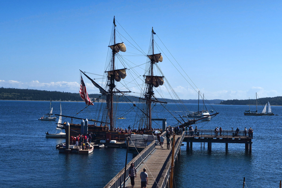 Or the largest of the tall ships, like the Lady Washington, too big to come into the marina so she gets her own dock.