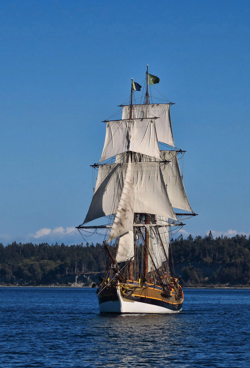 Lady Washington has starred in many films, including role of HMS Interceptor in Pirates of the Caribbean. She has a foreboding profile on the water.