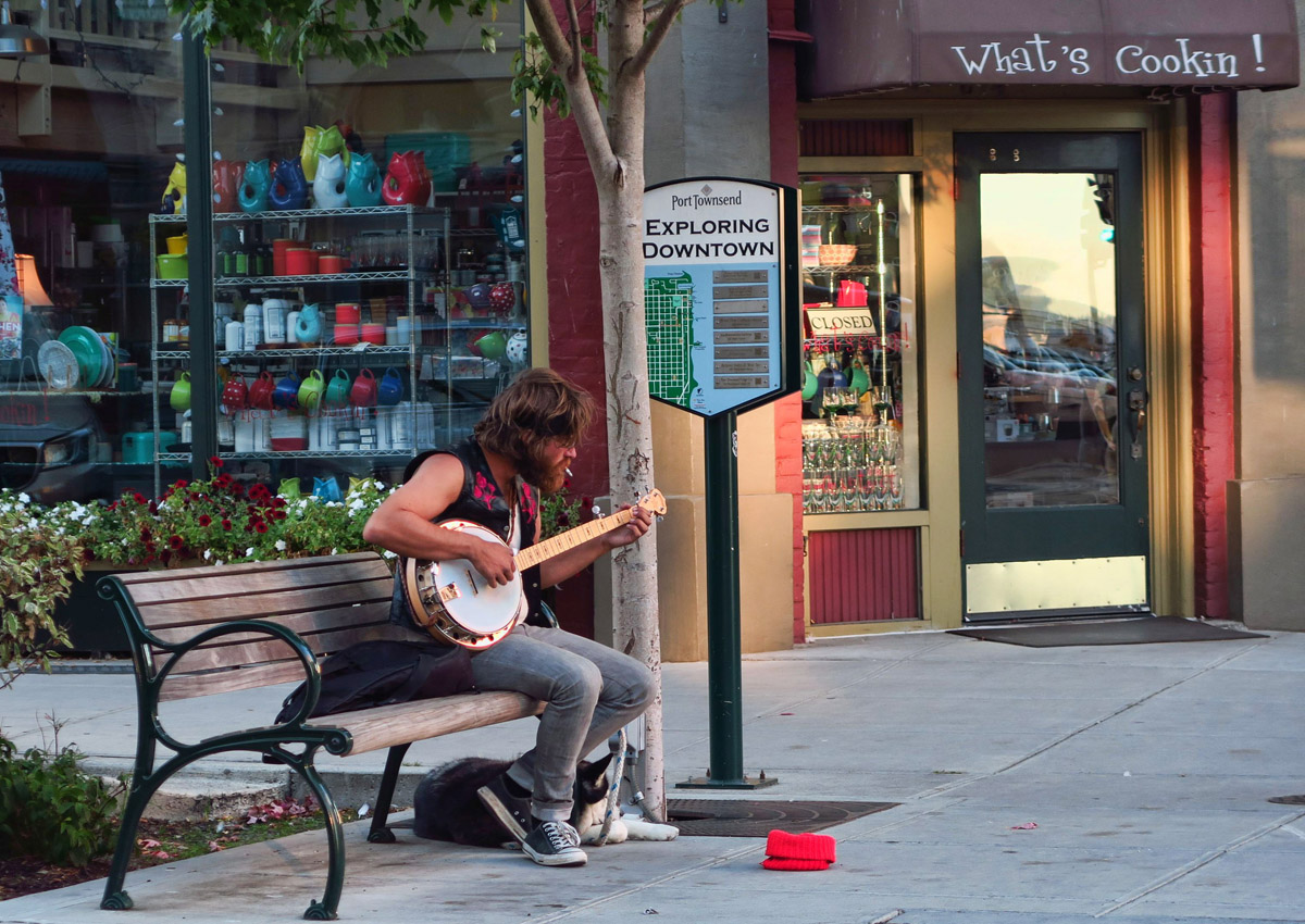 Street musicians are a common experience in the historic downtown.
