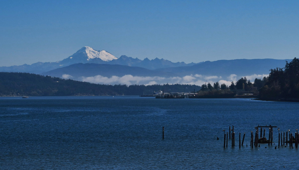 View of Mt Baker while waiting on ferry from Anacortes to Orcas Island in the San Juan Islands.