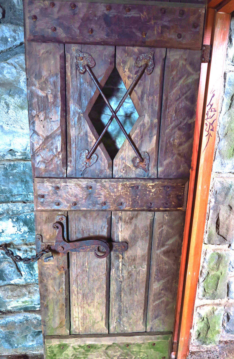 Atop Mt. Constitution on Orcas Island is a stone observation tower, built by the CCC in 1936. I love these old medieval doors..(too bad some A-hole felt the need to autograph the door facing)