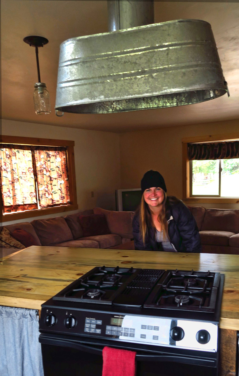 The lovely owner, Anna, showing me around the new cabins.