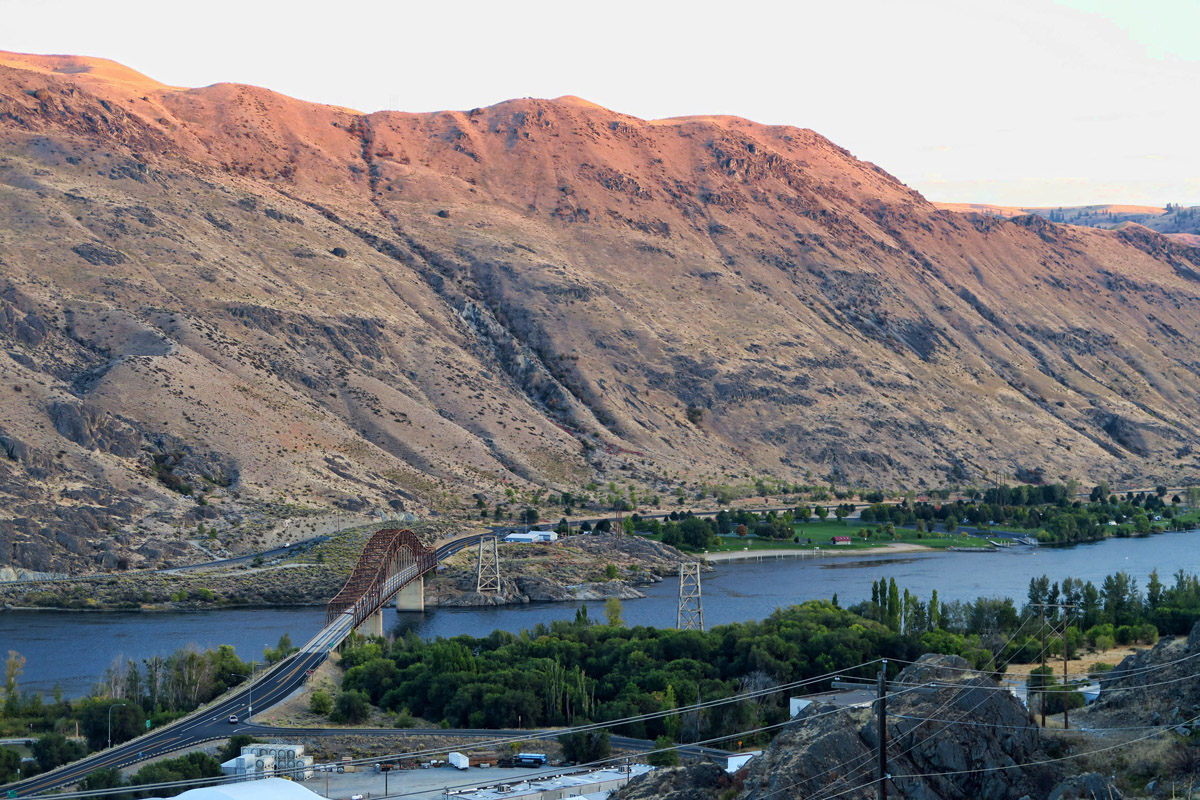 Beebe Bridge, for which the RV Park is named. Note white dots are RVs on far right side of Columbia River.
