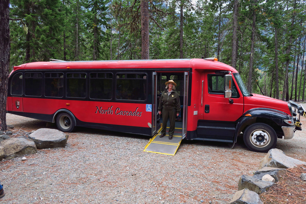 North Cascades Red Bus tour to Rainbow Falls.