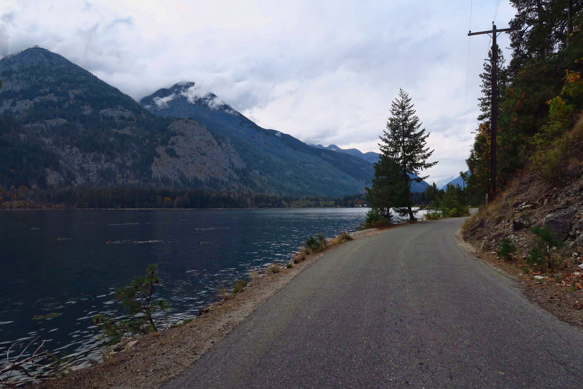 The only road in the village is paved for 4 miles, and runs alongside the lake.