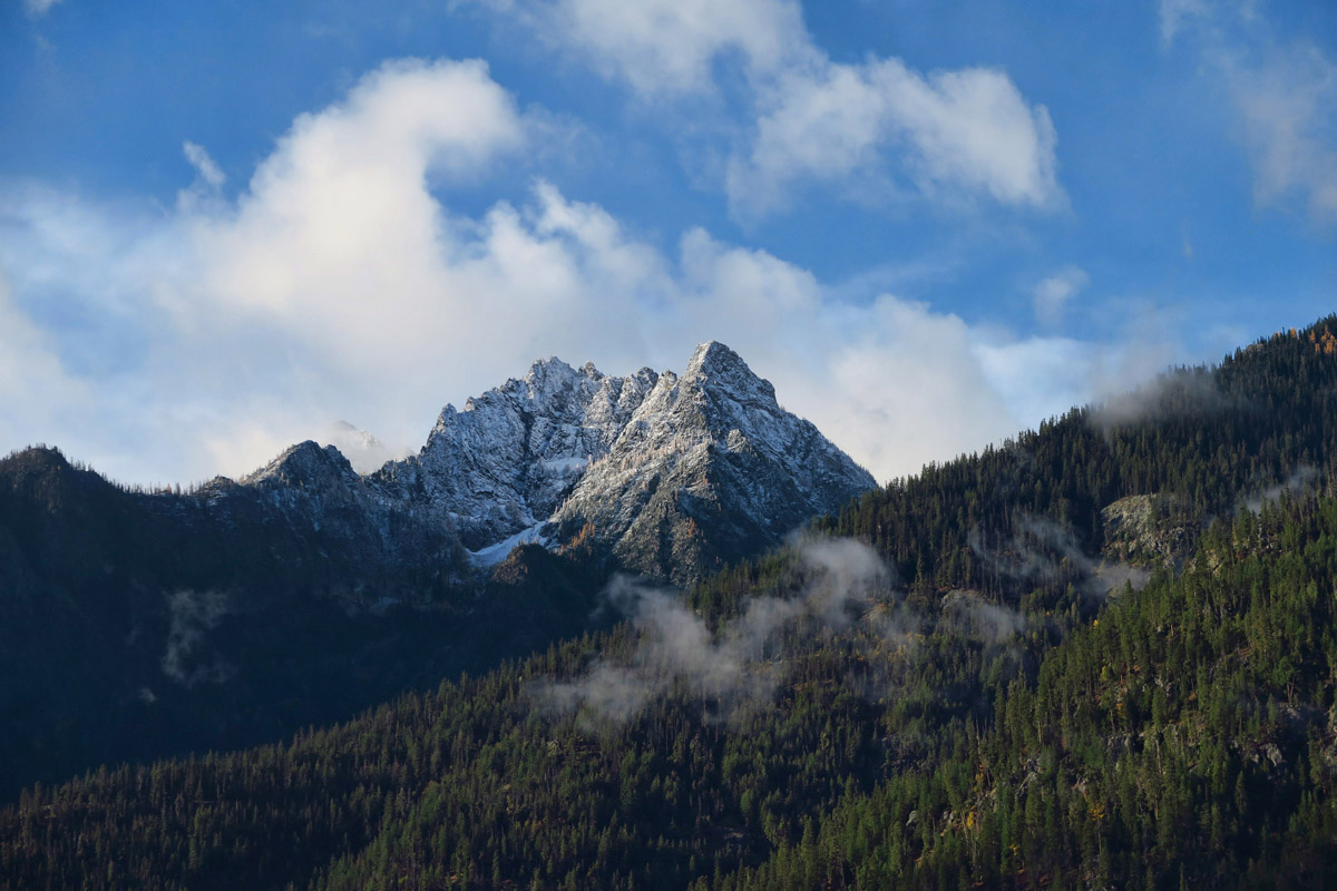 Parting clouds reveal a gorgeous view from North Cascades Lodge.